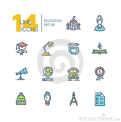 Free School And Education - Thick Line Icons Set Royalty Free Stock Photography - 87862797