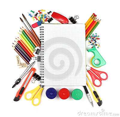 Free School And Office Supplies Isolated On White Background Royalty Free Stock Image - 33815356