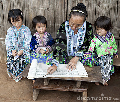 School in Asia, lessons with ethnic group Meo