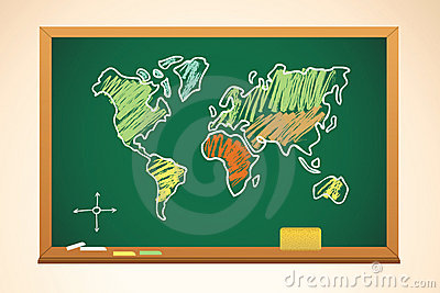School background with geography map drawing