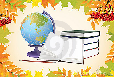 School background with globe, books and leaves