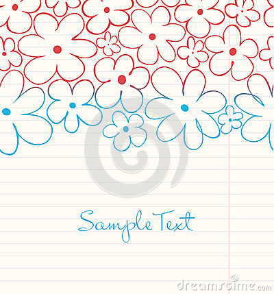 School  background in grunge style. Floral hand dr