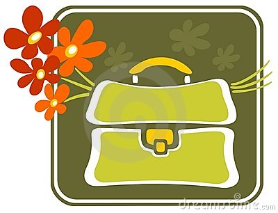 School bag with flowers