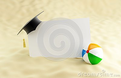 School at the beach, graduation cap blank