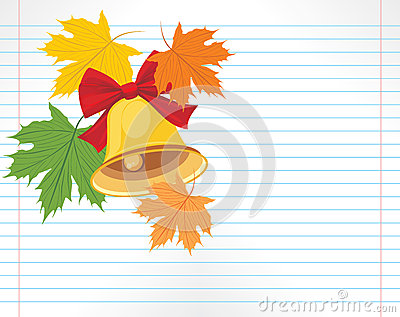 School bell and maple leaves on the notebook page