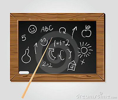 School black board with pointer and chalk