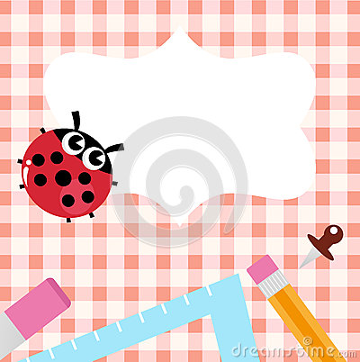 School blank banner with Ladybug and accessories
