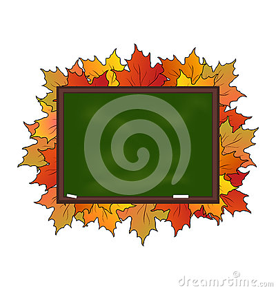 School board with maple leaves isolated