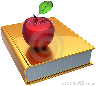 School book and apple learning symbol
