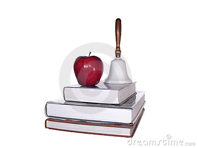School Books Apple Bell Clipping Path