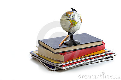 School Books and a Globe