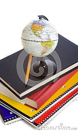 School Books and a miniature Globe