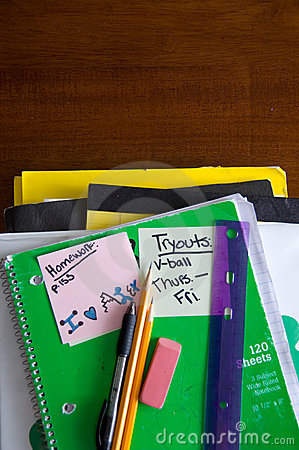 Free School Books, Supplies On Desk Stock Photography - 2282762