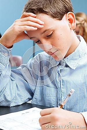 School Boy Concentrates on Standardized Test