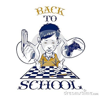 School boy crying