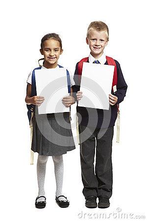 School boy and girl with blank white cards
