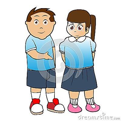 school boy and girl cartoon vector