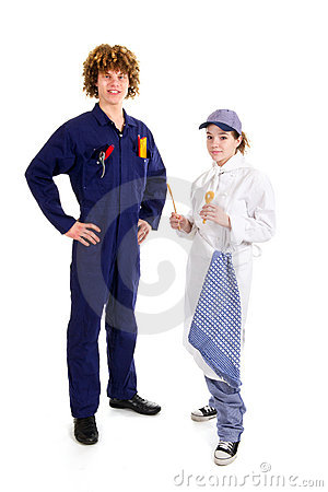 School boy and girl for occupation education