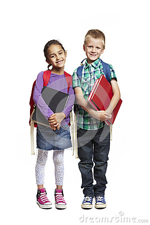 School boy and girl with packpacks holding books
