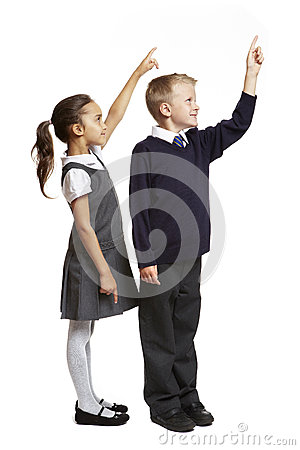 School boy and girl pointing