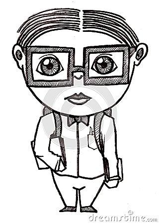 Dorky school boy illustration in black pen. Keywords: books boy cartoon clip