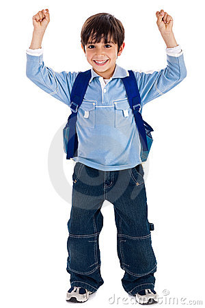 School boy raising his hands up wearing school bag