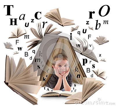 Free School Boy Reading Book With Letters Stock Photography - 30748182
