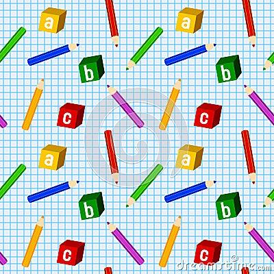 School Boy Seamless Pattern