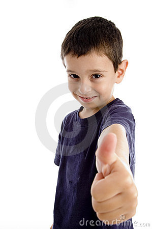 School boy showing thumbs up
