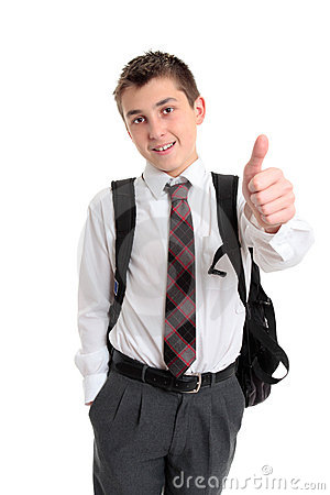 School boy showing thumbs up hand sign