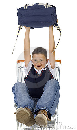 School boy in trolley