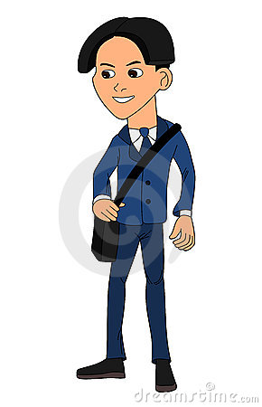 School boy in uniform cartoon