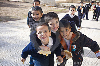 School break at Muslim school on the Temple Mount Editorial Photography