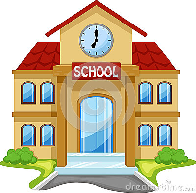 Free School Building Cartoon Stock Image - 55204891
