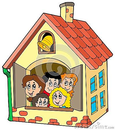 School building with kids