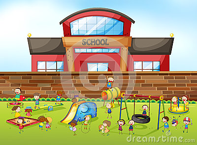 School Building And Playground Stock Vector Image 60580054