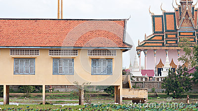 School building and temple in Cambodia