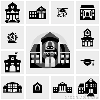 Free School Building Vector Icons Set On Gray Stock Photo - 40973070