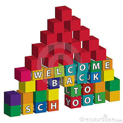 School built of toy blocks