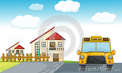 A school bus and building