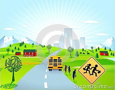 School bus and children