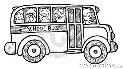 School Bus Children Black and White