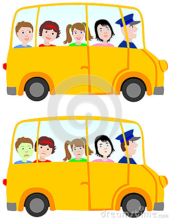 School bus - children on the trip