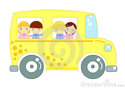 School bus with children on white background