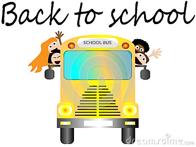 School bus with happy children back to school