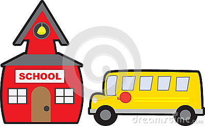 School and Bus Isolated