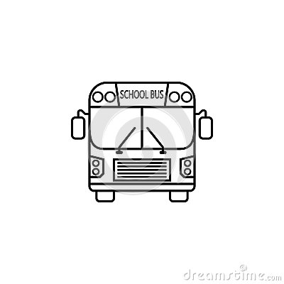 School bus line icon, student transport Vector Illustration