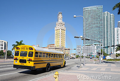 School Bus in Miami Editorial Stock Photo