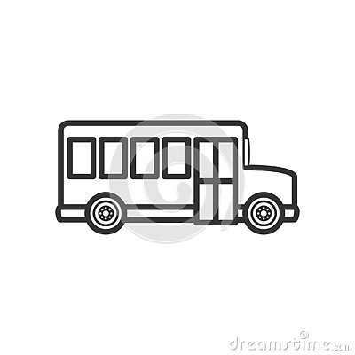 School Bus Side Outline Flat Icon on White Vector Illustration