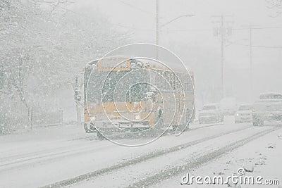 School bus in snow storm